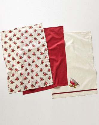 Pack of 3 Red Robin Tea Towels
