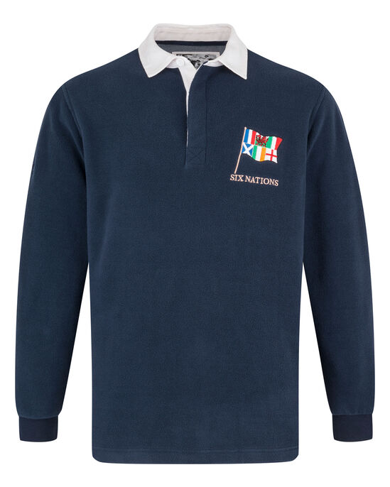 6 Nations Long Sleeve Fleece Rugby Shirt
