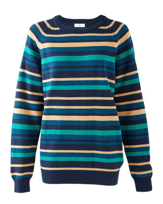 Navy Stripe Cotton Crew Neck Jumper