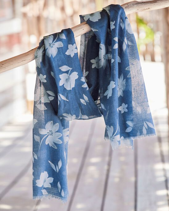 Flower and Leaf Print Scarf