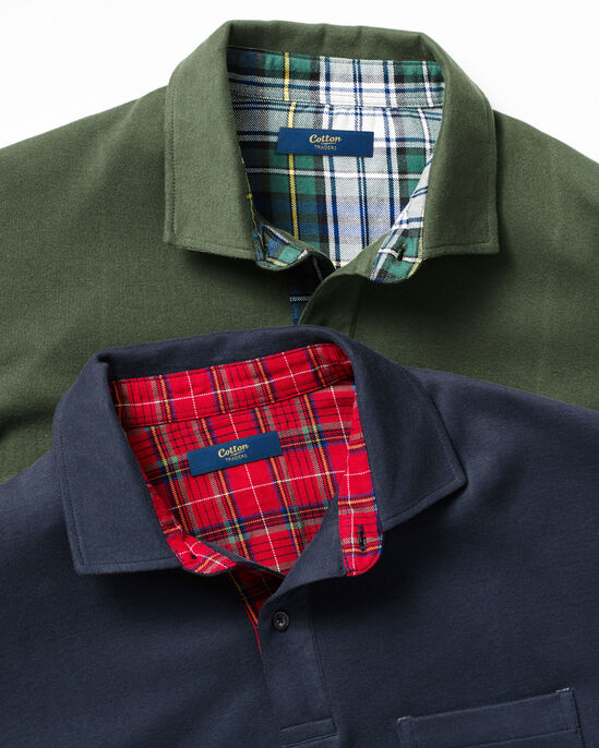 Flannel Trim Polo Shirt