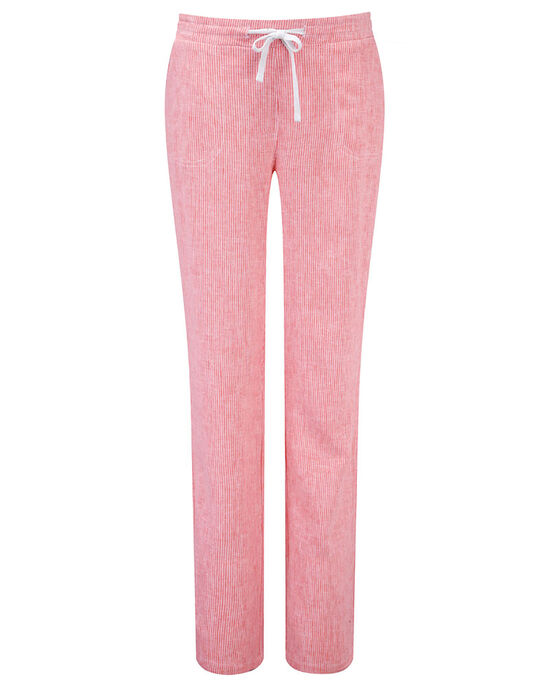 Stripe Pull-on Linen Blend Trousers