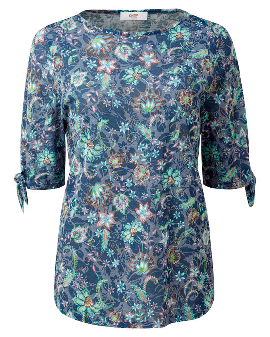 Floral Burn Out Tie Sleeve Top