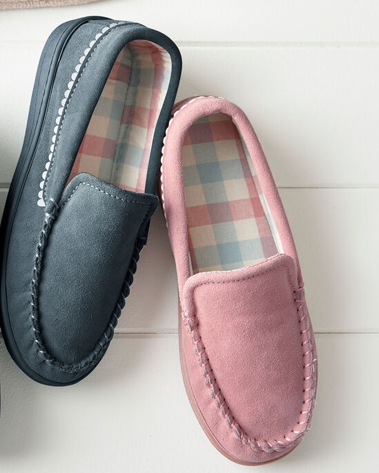 Suede Check Lined Moccasin Slippers