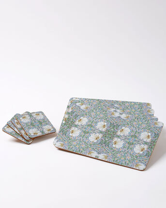 Pack of 4 William Morris Pimpernel Placemats and 4 Coasters