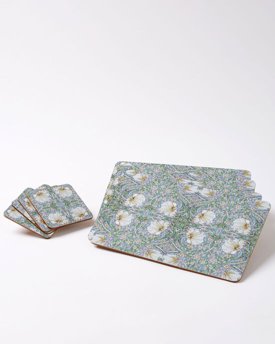 Set of 4 William Morris Pimpernel Placemats and 4 Coasters