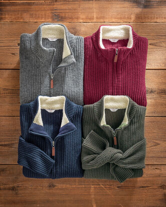 Sherpa Fleece Trimmed Cardigan
