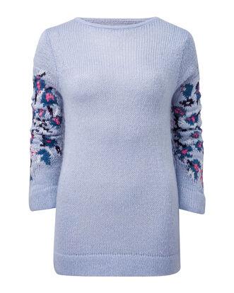 Pale Blue Floral Sleeve Jumper