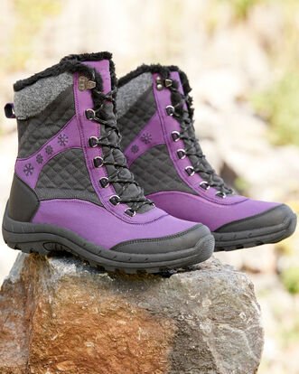 Waterproof Patterned Lace-up Snow Boots