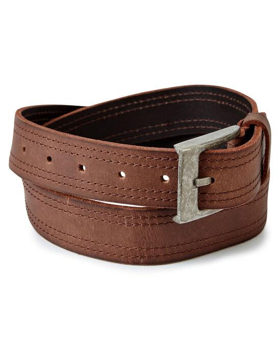 Twin Stitch Leather Belt