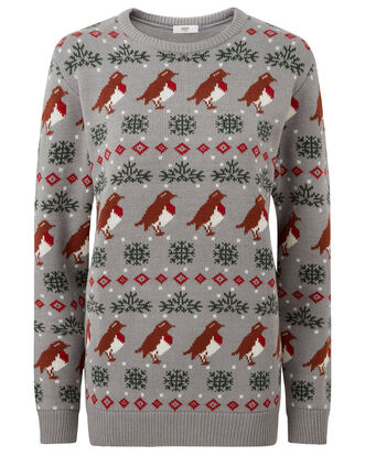 Grey Marl Crew Neck Christmas Jumper
