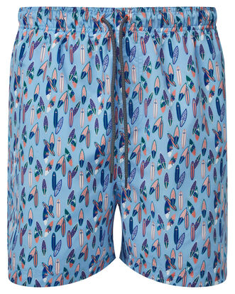 Soft Blue Printed Swimshorts