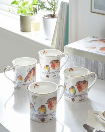 Set of 4 Winter Robin Mugs