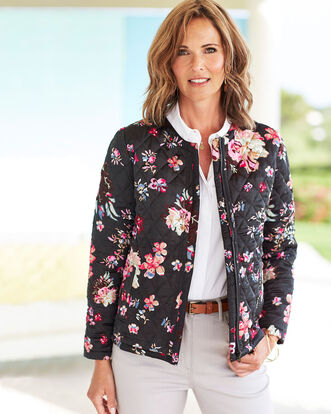 Quilted Print Zip Jacket