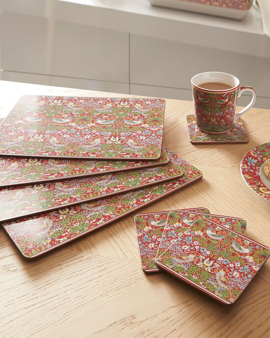William Morris Strawberry Thief Set of 4 Placemats and Coasters