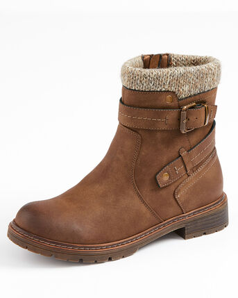 Knitted Buckle Ankle Boots