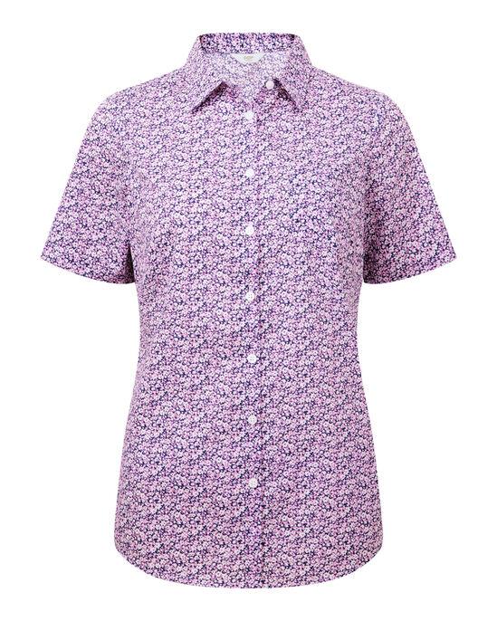 Pink Floral Short Sleeve Wrinkle Free Shirt