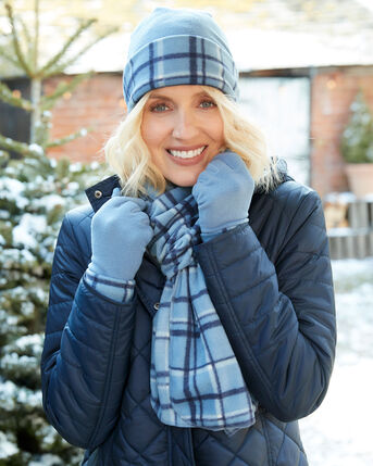 Fleece Check Hat, Scarf and Gloves Set