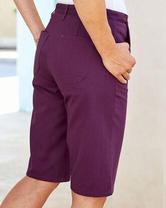 Plum Wrinkle Free Adjustable Waist Shorts