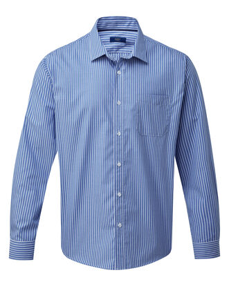 Vibrant Blue Long Sleeve Wrinkle Free Shirt