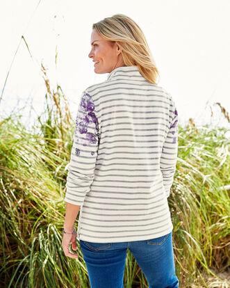 Stripe Button Neck Printed Sweatshirt