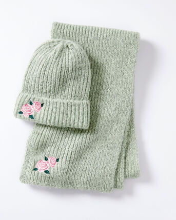 Flower Embroidery Hat and Scarf Set