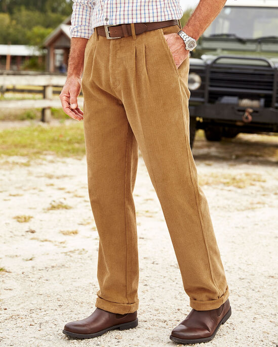 Pleat Front Cord Trousers