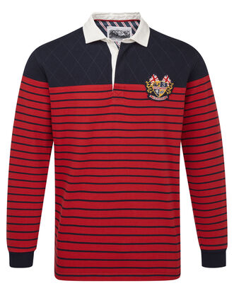 Three Lions Long Sleeve Stripe Panel Rugby Shirt