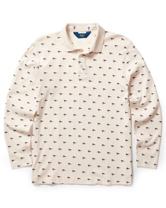 Cream Long Sleeve Jersey Polo Shirt
