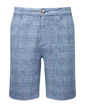 Linen Blend Check Shorts