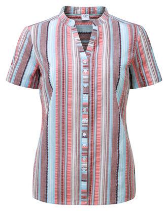 Short Sleeve Grandad Seersucker Blouse