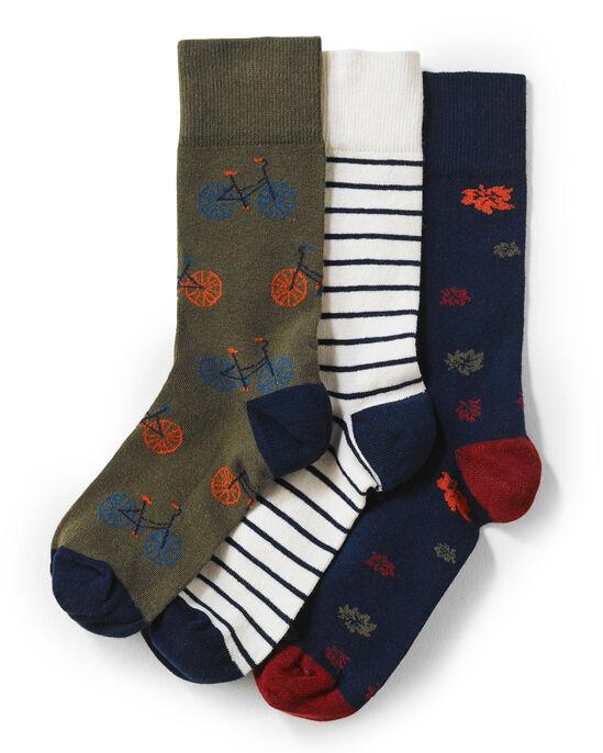Khaki 3 Pack Patterned Socks
