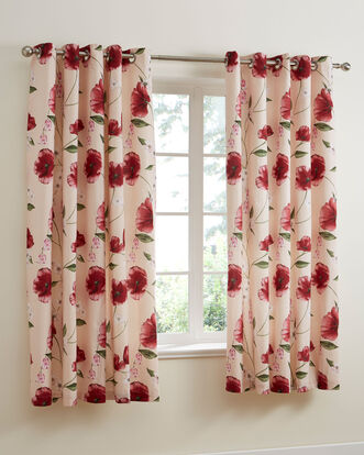 Poppy Bloom Eyelet Curtains 66x72""