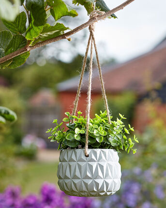 Hanging Pot With Faux Plant
