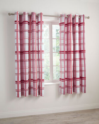 Watercolour Check Eyelet Curtains 66x72""
