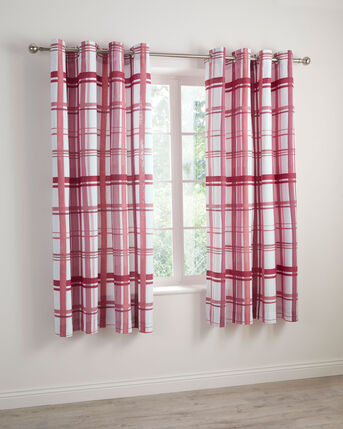 "Watercolour Check Eyelet Curtains 66x72"""
