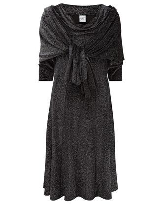 Velour Cowl Neck Sparkle Dress With Shawl