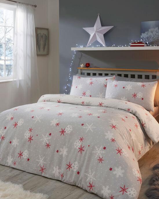 Red Snowflake Brushed Cotton Duvet Set