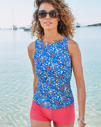 High Neck Printed Tankini Top