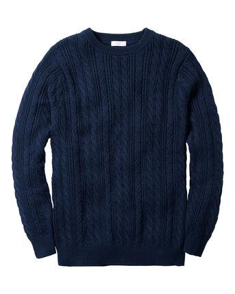 Cable Knit Cotton Crew Neck Jumper