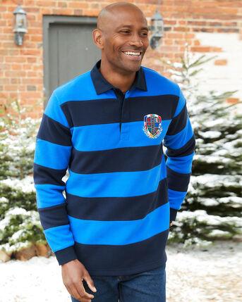 6 Nations Long Sleeve Stripe Fleece Rugby Shirt