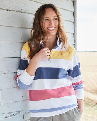 Organic Cotton Half Zip Stripe Top