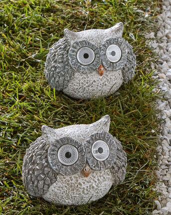 Pack of 2 Solar Eyes Owl Garden Ornaments