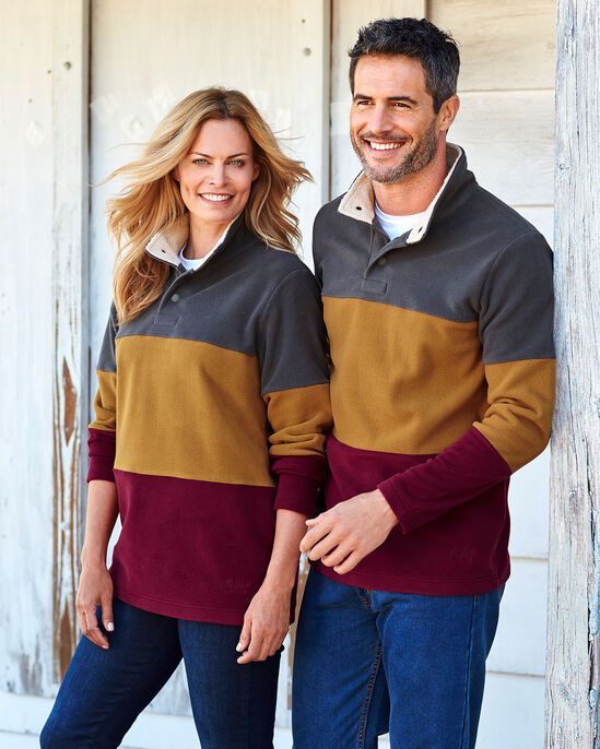 Luxury Stripe Fleece Popover