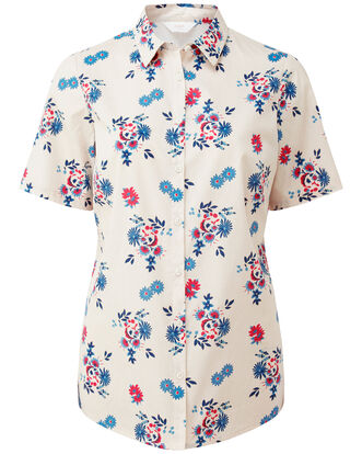 Cream Floral Wrinkle Free Short Sleeve Shirt