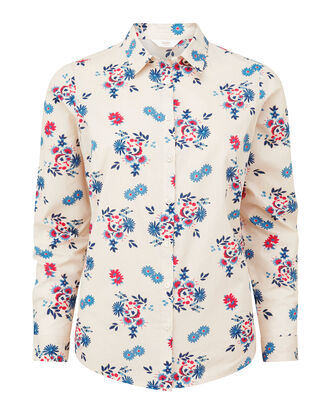Cream Floral Wrinkle Free Long Sleeve Shirt
