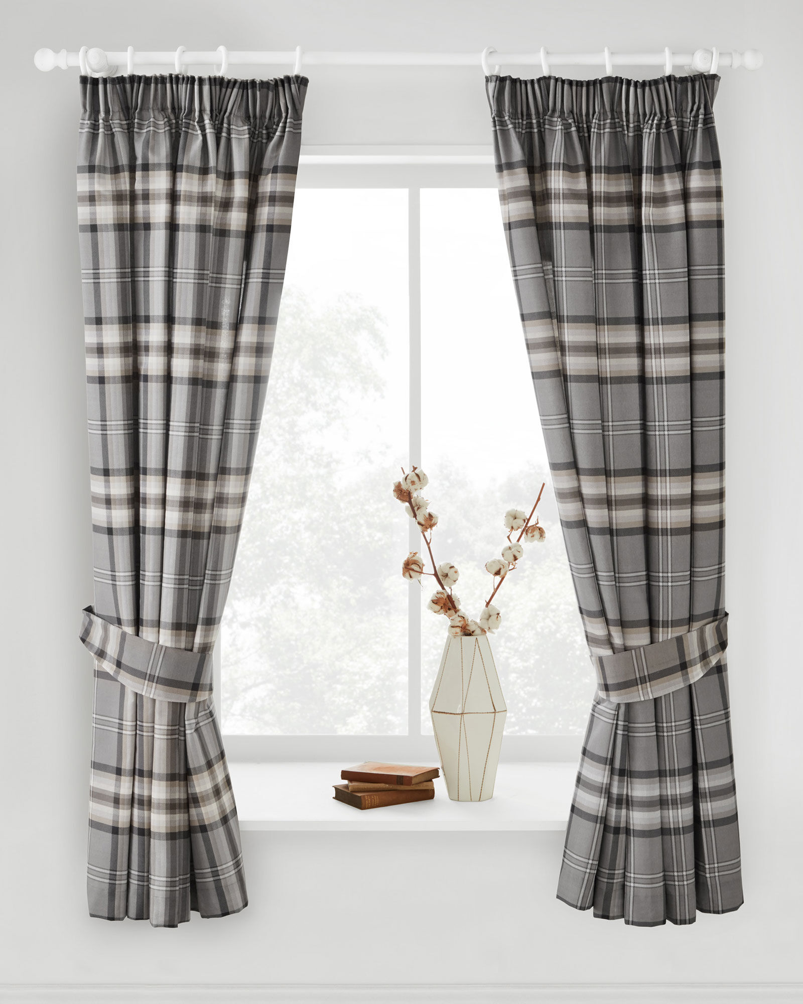 United Oxford Check Lined Curtains Home, Furniture & Diy Tiebacks Pair Brand New