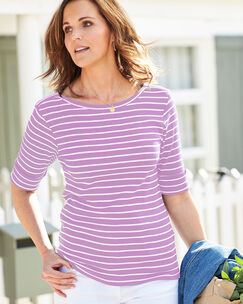 Wrinkle Free Half Sleeve Boat Neck Stripe Top