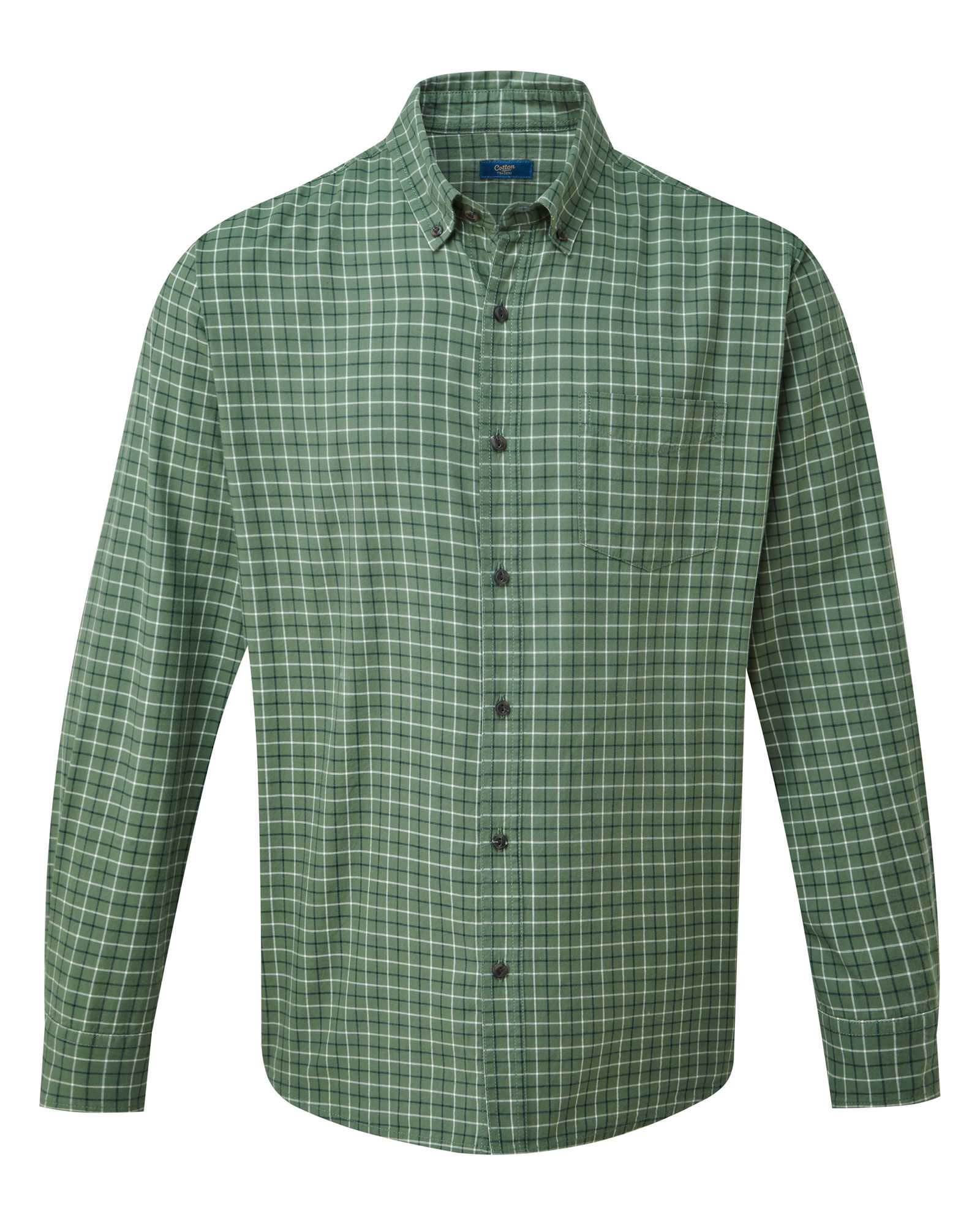Cotton Traders Mens Comfortable Classic Long Sleeve Tattersall Twill Shirt
