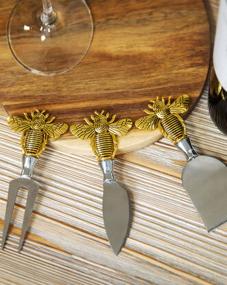 3 Piece Cheese Tool Set With Bee Handles